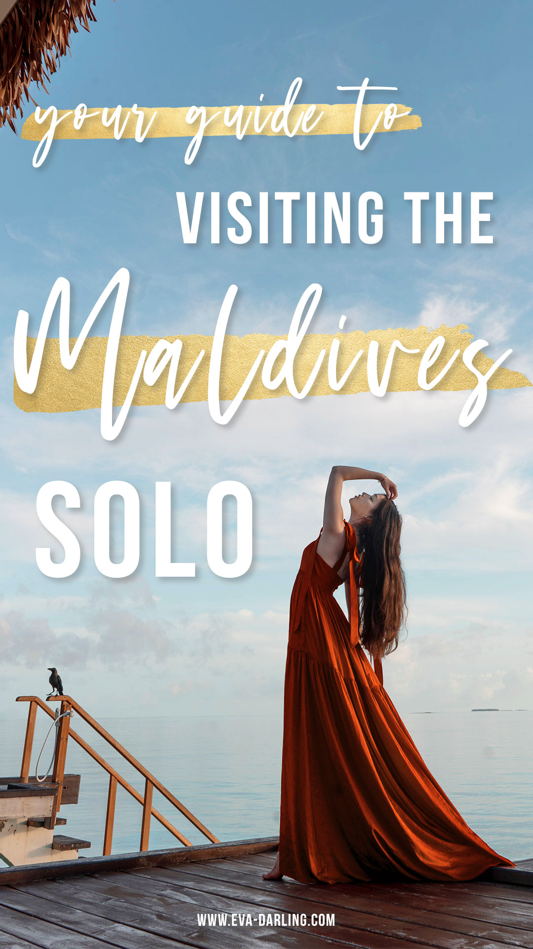 what to know before visiting the maldives solo perrin and co anne dress orange silk maxi dress train indian ocean maldives water brunette long brown hair woman bending backward overwater villa luxury resort