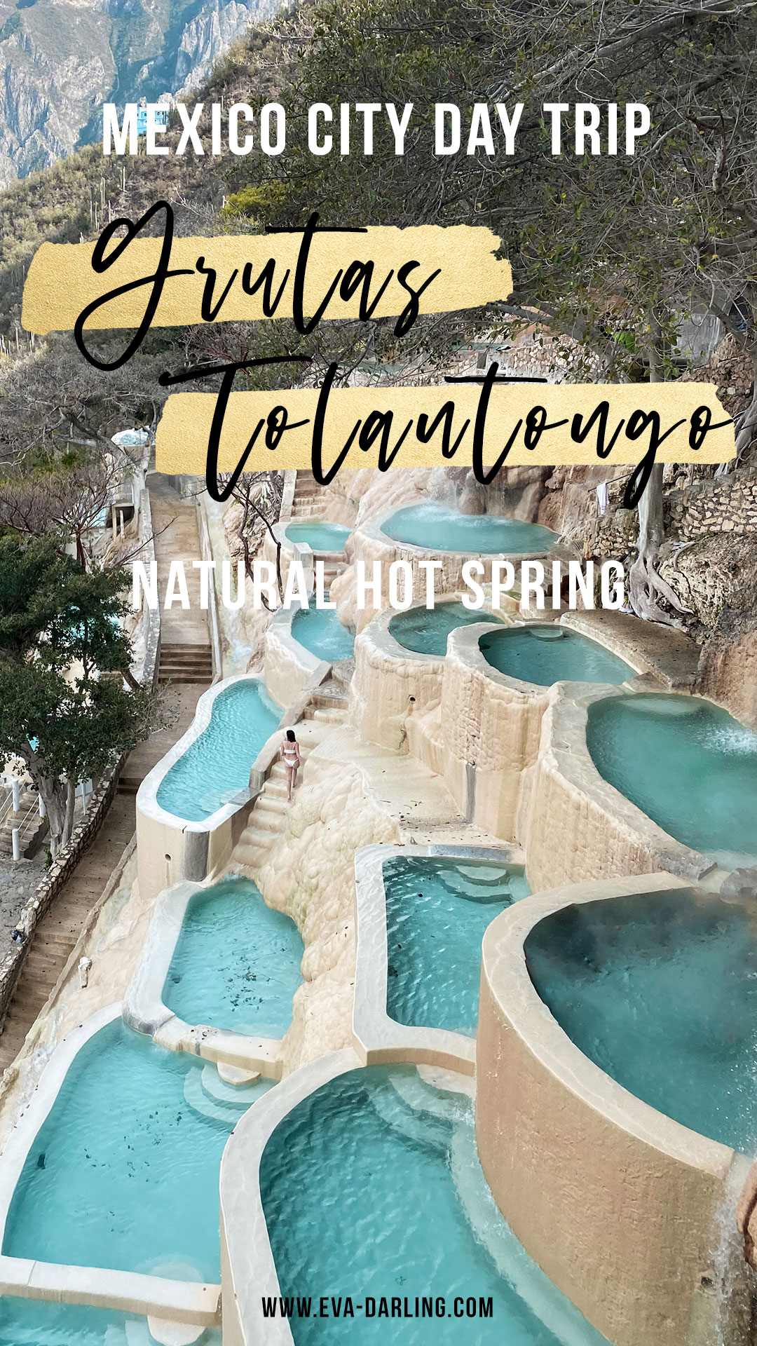 best mexico city day trip grutas tolantongo natural hot springs carved white stone thermal pools hidalgo mexico brunette woman walking turquoise water