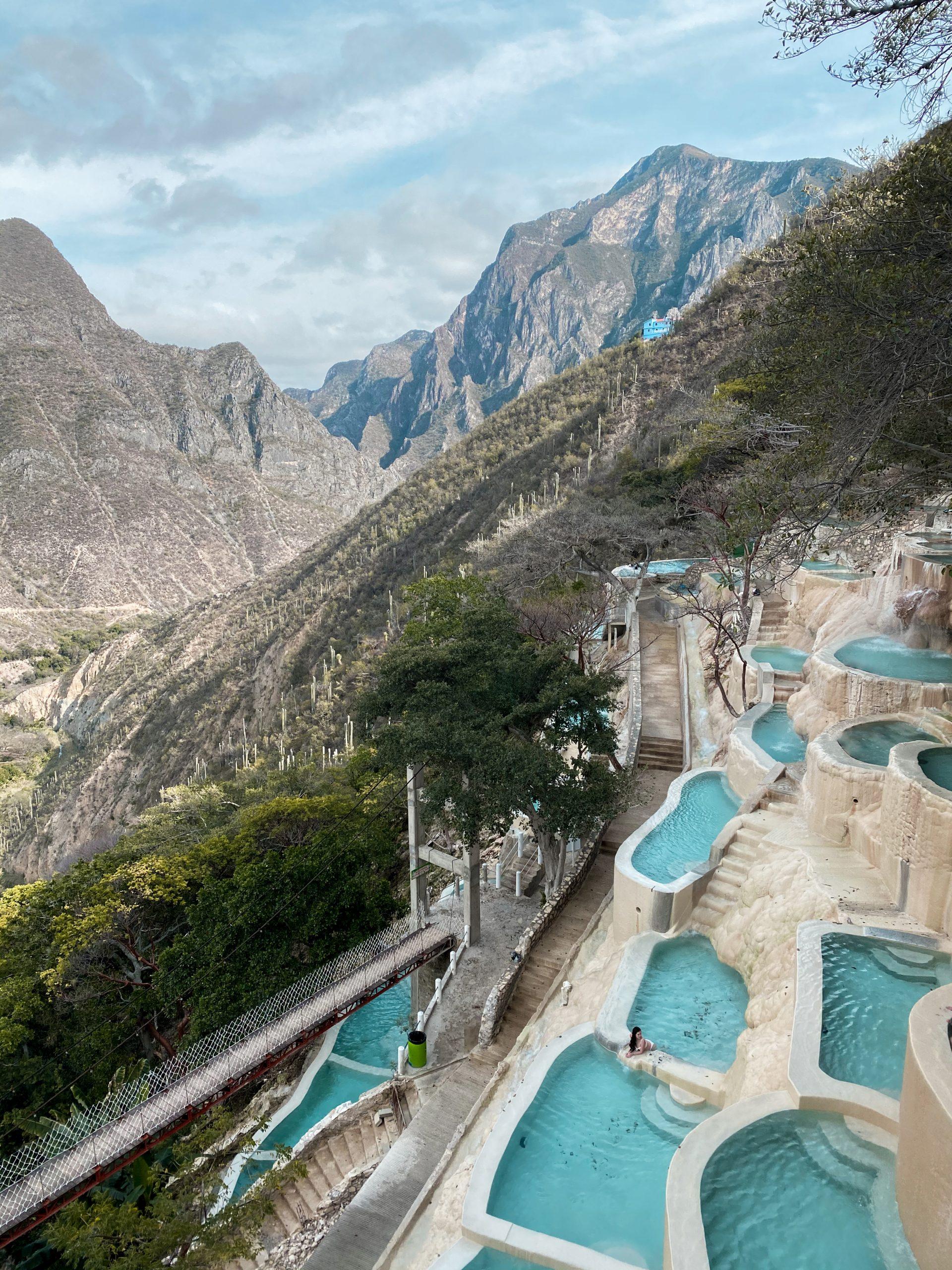 grutas tolantongo carved white thermal pool hidalgo mexico natural hot spring mezquital valley mountains brunette woman eva phan