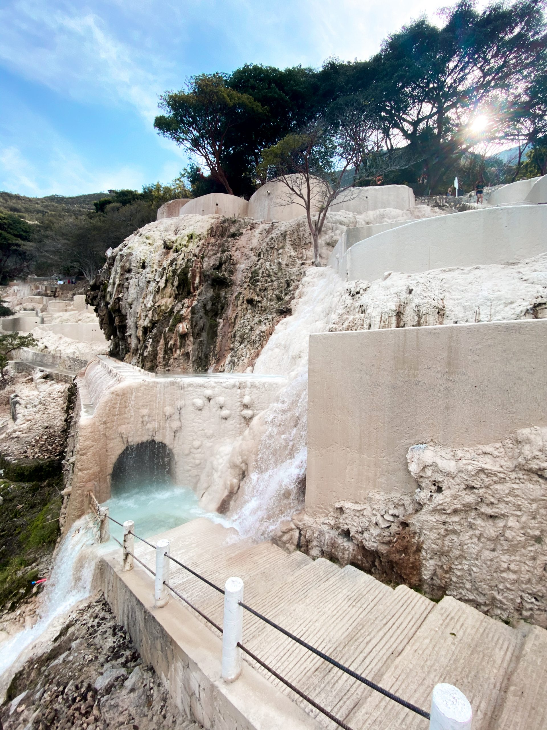 tunnel carved white stone thermal pool cliff side canyon natural hot springs grutas tolantongo hidalgo mexico water park