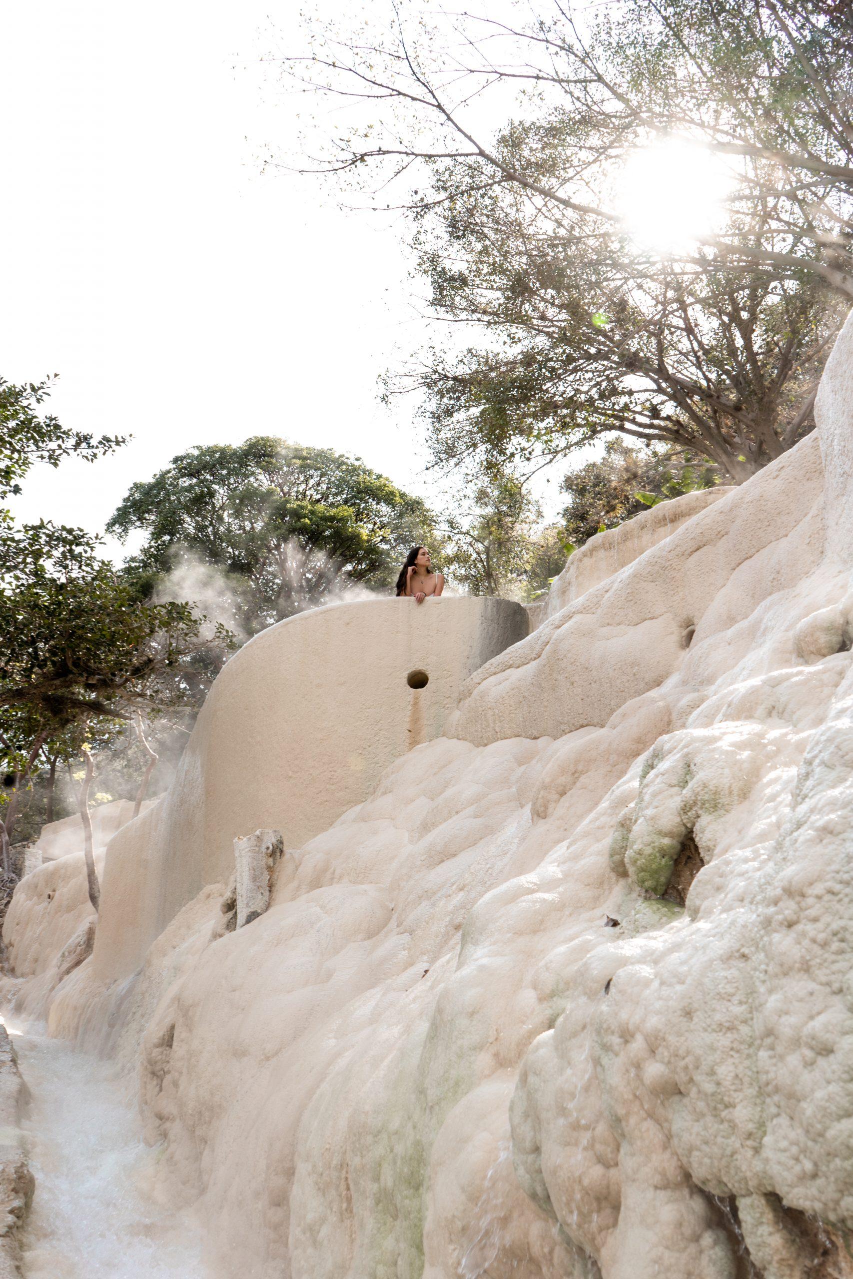 grutas tolantongo hot springs thermal pools white cliffside canyon hidalgo mexico brunette woman eva phan
