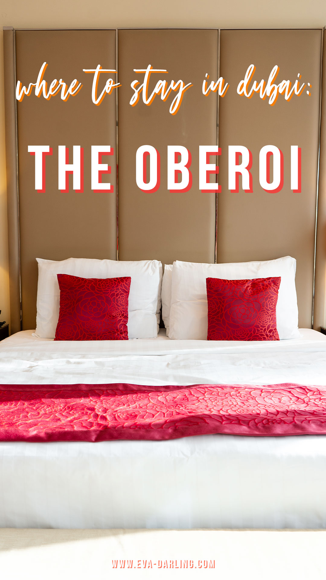 where to stay in dubai the oberoi luxury hotel business bay uae united arab emirates king bed red throw pillows
